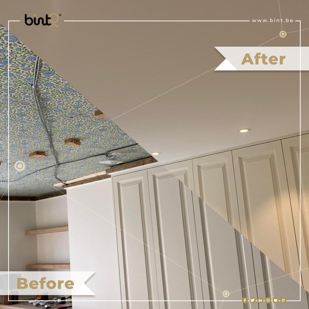 Oud plafond voor en na renovatie met wit spanplafond