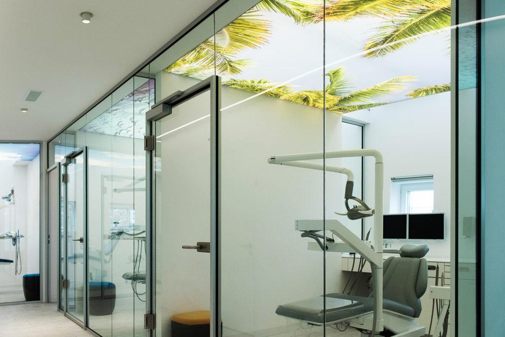 antibacteriële wand en spanplafond lumina digitaal tandarts praktijk kamer