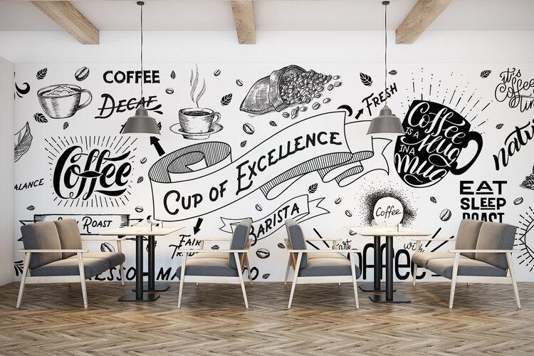 Wit cafe met printwand. Allerlei woorden op geprinte muur.