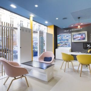 reisbureau spanplafond blauw met inbouw spots