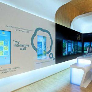 spanplafond en interactieve spanwand in een bank filiaal bulgarije