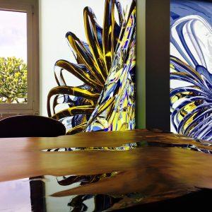 spanplafond en spanwand met abstracte kleur digitale druk in een modern kantoor. BINT- Spanplafond specialist.