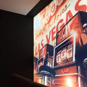 spanplafond en spanwand met print las vegas