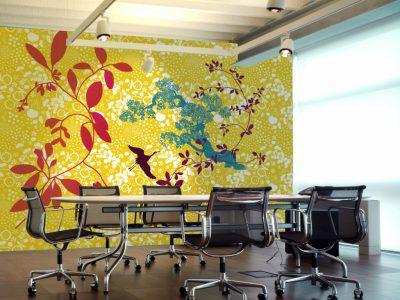 spanplafond en spanwand tension vivid kantoorruimte met natuurprint fauna en flora