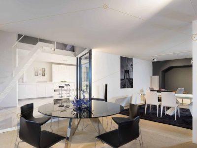 spanplafond en spanwand woonkamer inspiratie