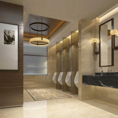 spanplafond in publieke toiletten met lichtintegratie