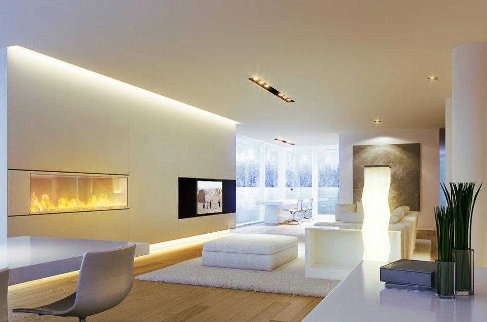 spanplafond lichtstudie lichtplan woonkamer met speciale lichtintegratie