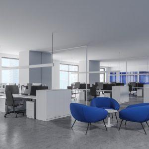 spanplafond spanwand akoestisch geluidsdempend in een moderne kantoorruimte boekhoudkantoor