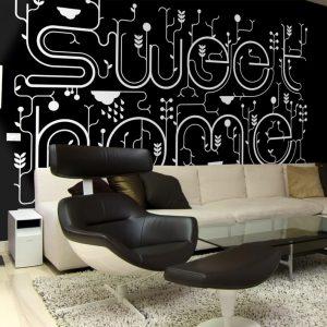 spanplafond spanwand akoestisch geluidsdempend in een moderne woonkamer met print