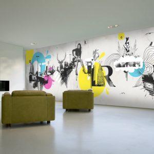 spanplafond spanwand frameview op een breedbeeld achtergrond moderne kamer