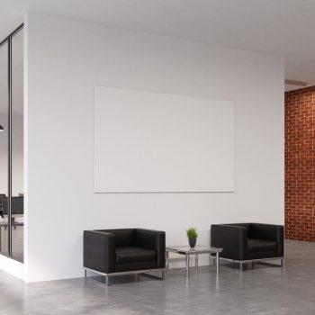 spanplafond spanwand projectie muur tension motion in een wachtruimte creative agency