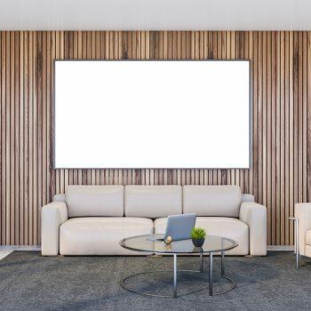 spanplafond spanwand projectie muur tension motion in een wachtzaal bij de dokter