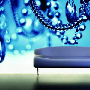 spanwand met achtergrond led verlichting blauwe parels