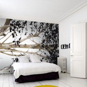 spanwand met natuurprint in slaapkamer
