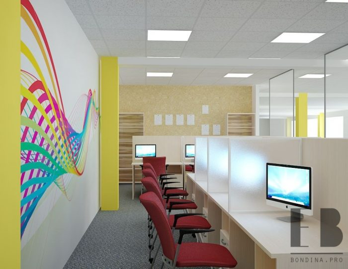 spanwand met print in een klein callcenter