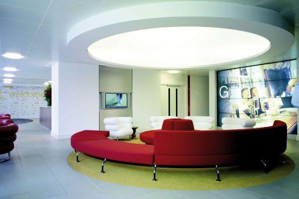 verlichting plafond spanplafond wachruimte lounge modern kantoor